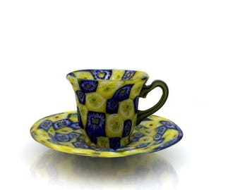 Murano Art Glass Italian Millefiori (from a Murrine Cane or Rod) Teacup or Espresso Cup and Saucer by Fratelli Toso. 1950s.