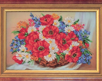 "Bead Embroidery Kit DIY Bouquet Full Of Happiness 9.8""x14.9"" Color Canvas Bead Set Needle Guide Beginners"