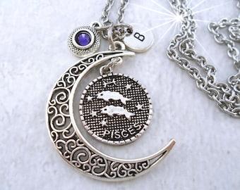 Pisces Necklace Filigree Crescent Moon w-Swarovski Birthstone & Letter Charm February Birthday Gift March Birthday Gift Pisces Gift Zodiac