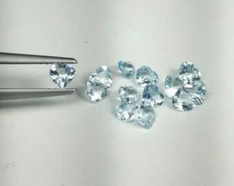 Natural 3.5x3.5mm & 4.5x4.5mm heart shape Aquamarine