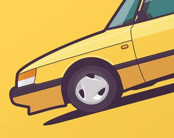 Saab 900 Car Poster Art Print (Side)