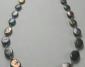Iridescent Blue Freshwater Mother of Pearl Necklace, Sterling Silver Clasp, Jewelry with Intention