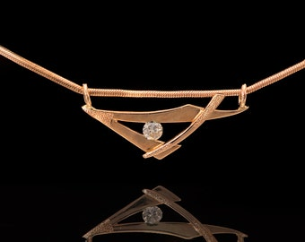 14k Yellow gold Natural Diamond Triangle Necklace, Diamond Pendant