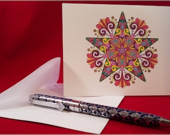 Note Cards, Notecards, Stationary, Stationery, Holiday Notecards, Blank Inside, Folded, Set of 10 w/Envelopes included: Item #NC4010 Star