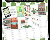 LLama Cactus BHP Big Happy Printable Planner Stickers Digital