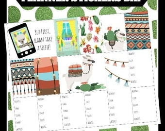 LLama Cactus BHP Big Happy Printable Planner Stickers Digital