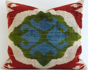 SALE ! - Handwoven Silk ikat velvet pillow, ikat pillow, velvet pillow, blue green pillow, ikat pillow, designer pillows, green ikat pillow