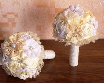 Bridesmaids bouquets, brooch bouquet, toss bouquet, fabric bouquet. Wedding set bouquets, champagne and white