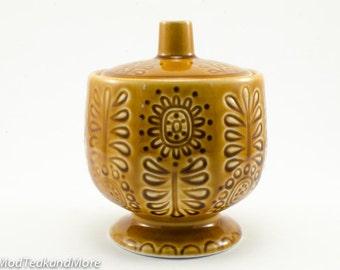Vintage Japanese Light Brown Ceramic Sugar Bowl