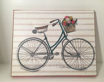 Vintage Bicycle Mixed Media Canvas Art