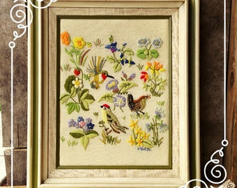 Crewel Embroidery Wall Art Vintage FREE SHIPPING