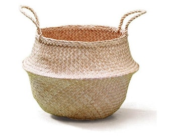 Sea Grass Foldable Belly Basket - NATURAL - Plant Basket / Beach Bag / Market Tote / Nursery Storage