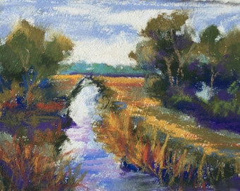 Original Impressionist Pastel Painting of the Loxahatchee National Park