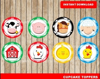 Farm cupcakes toppers; printable Farm toppers, Farm party toppers instant download