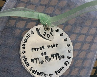 Personalized Hand Stamped Mr. and Mrs. Ornament