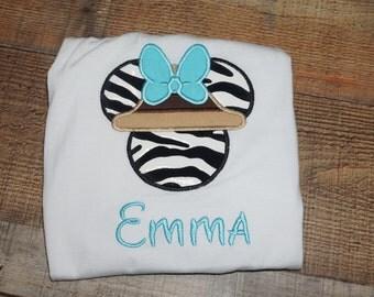 Fast Shipping!!! Safari Minnie Mouse/ Wildlife Minnie Shirt/ Zebra Theme Minnie Mouse/Safari Disney Inspired Theme