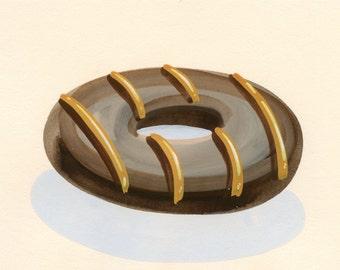Donut with Butterscotch Icing Painting Gouache Original Food Art Scrumptious Yum