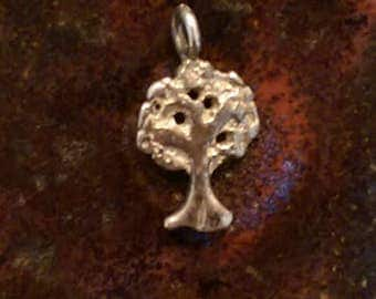 Vintage sterling silver tree of life charm tiny pendant or keychain charm
