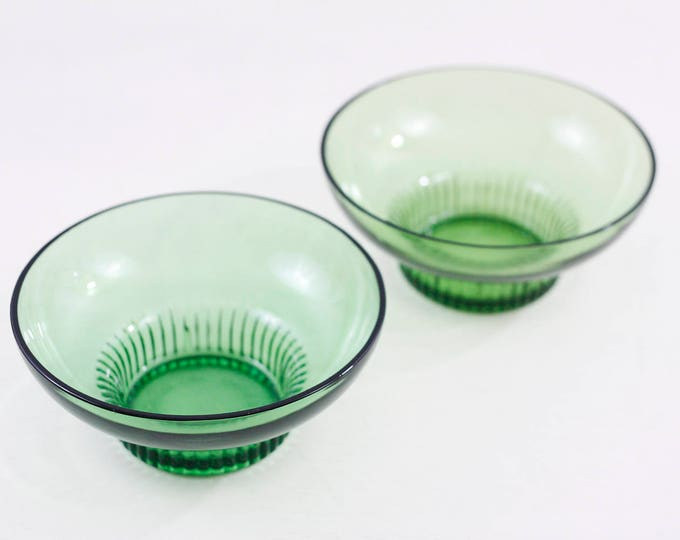 Green glass bowls with ribbed base by A.L. Randall, Prairie View, IL - set of 2 - breakfast bowl, icecream coupe, snack bowls,