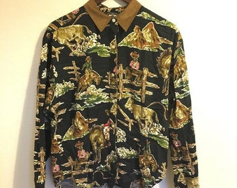 Dallas 100% cotton vintage cowboy brokeback rodeo western print blouse UK 14