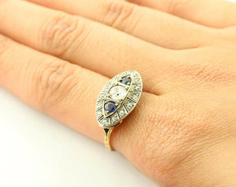 Antique Lady Ring Sapphire Stones & CTR Vintage 100+ years Old