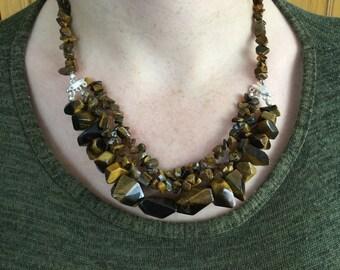 Gemstone necklace - Tiger eye necklace - Beads necklace - Ladies fashion - Gift for ladies - Mature ladies - Gemstone set - Earrings set