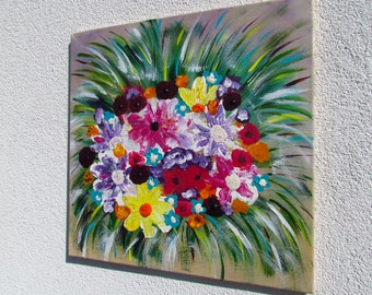 Kind of MisQue. Acrylic painting flowers for you 50 x 50 cm