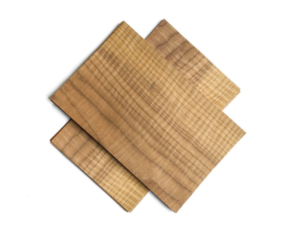 Curly walnut wood veneer set 30x19cm 2 sheets cs2fwn4x2 for Thin wood sheets for crafts