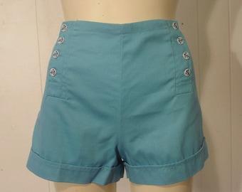 Hot pants, vintage, 1960s, shorts, sailor, pants, anchor, buttons, large, NOS, new pants
