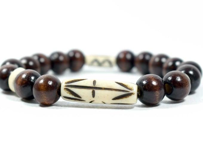 Unisex Bracelet with Wood & Carved Bone Beads.