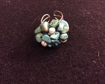 Turquoise and Freshwater Pearl Ring