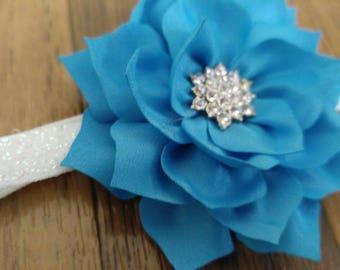 Bright blue satin flower infant headband
