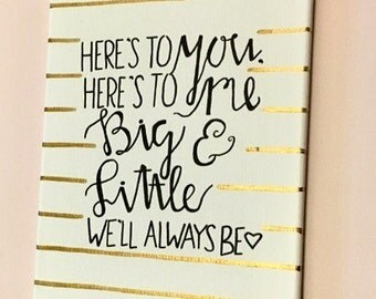 Here's To You Big & Little Gold Canvas