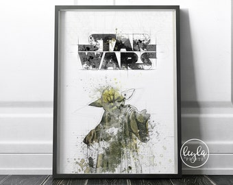 Star Wars Print / Yoda - Train yourself to let go | A6/A5/A4/A3 Illustration Print | Star Wars Movie Poster | For Him, For Her