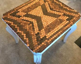 Handmade Penny Top Table