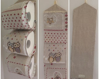 Spare toilet paper roll holders-3 rolls of fabric OWL (Door rolls toilet paper-3 spare rolls with cloth OWL).