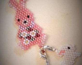 Sweet Bunny Mama Pendant Charm Choker Necklace Bracelet Mother's Day Easter Phone Zipper Backpack Purse Charm