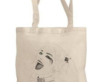 Harley Quinn tote bag with original artwork by Brandy Mars