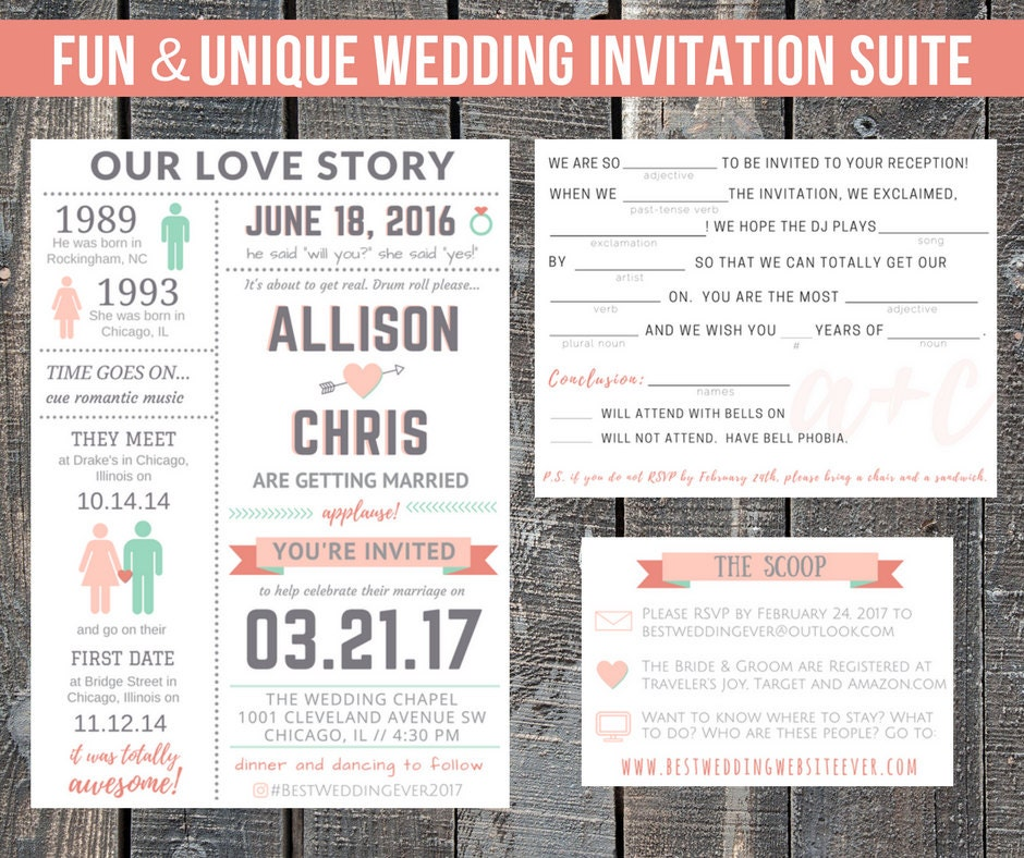 Printable Wedding Invitation Suite / Our Love Story / Custom