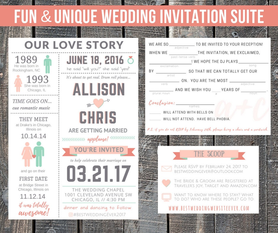 Funny Wedding Reception Invitations: Printable Wedding Invitation Suite / Our Love Story / Custom