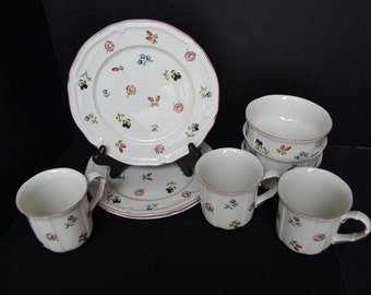 "Villeroy & Boch ""Petite Fleur"" Porcelain Serving Set of Three Plates, Three Mugs and Three Bowls, Made in Luxemburgh"