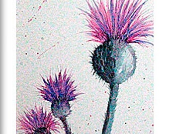 Highland Thistles, original painting in watercolours, complete with mount size is 500mm x 227mm, painting size is 180mm x 450mm