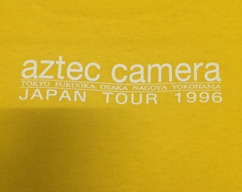 Vintage 90s Aztec Camera Japan Tour New Wave The Smiths,Jesus and Mary Chain,Echo & The Bunnymen Yellow Large FOTL Made in  USA.