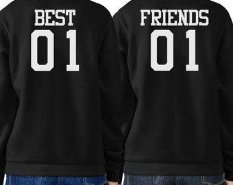 Best 01 And Friend 01 BFF Sweatshirts Friendship Matching Black Fleece (FSS027)