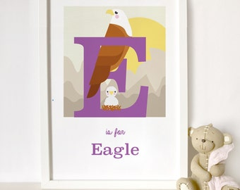 Eagle letter print, animal alphabet print, letter E print, nursery print, gift for baby, gift for animal lover, eagle print, nursery