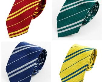 Harry Potter Hogwarts house style ties! Ravenclaw, Hufflepuff, Slytherin, Gryffindor!