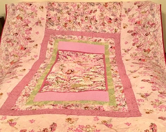Beautiful Hand-Made Pink Fairy Quilted Bedspread  (Queen)