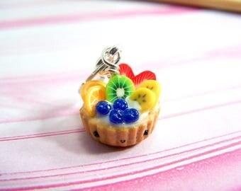 Polymer Clay Fruit Tart Charm. Miniature Food. Food Jewelry. Miniature Food Jewelry. Fruit Tart Clay Charm