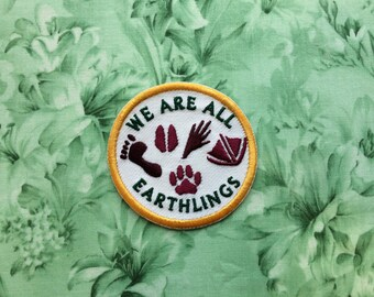 We are all earthlings iron on embroidered vegan patch vegetarian plant based