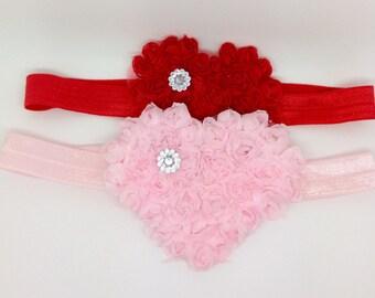 Valentine's Headband, baby Headband, pink heart Headband, red heart Headband, heart Headband, toddler valentines headband, baby pink